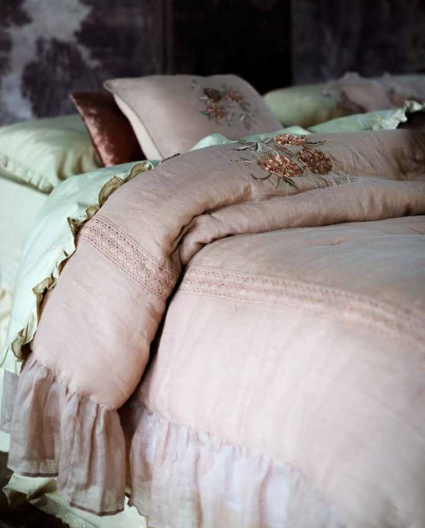 Trapunta lino Blanc Mariclò Shabby chic Signoria rosa