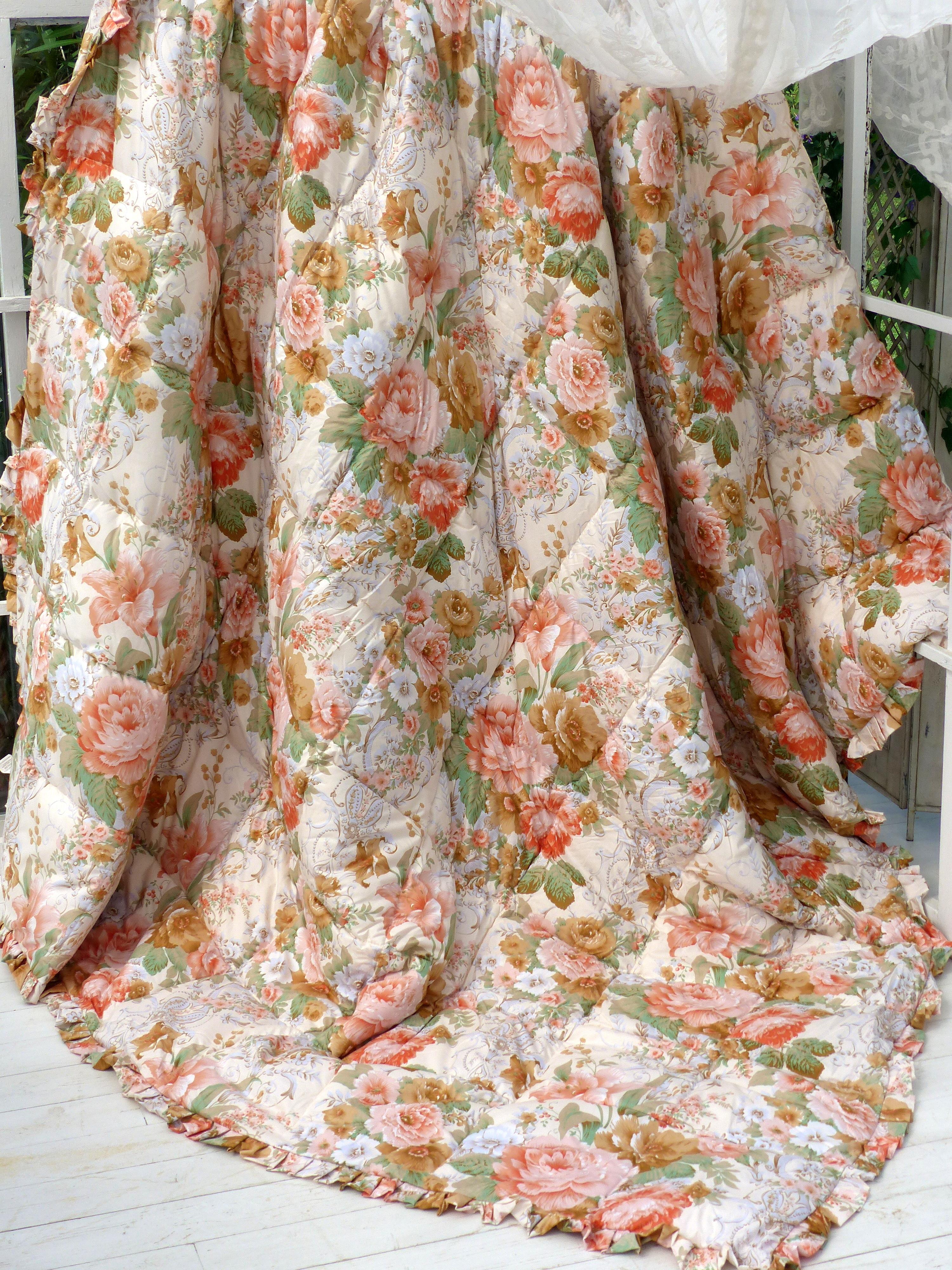 Trapunta Blanc Mariclò fiori inglesi shabby chic romantica