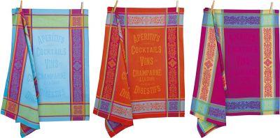 """3 jacquard Provencal towels """"Aperitifs"""" Autrefois - SUPER DISCOUNT -"""