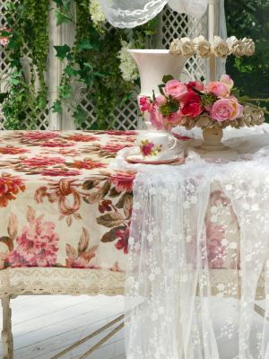 Shabby chic linen tablecloth